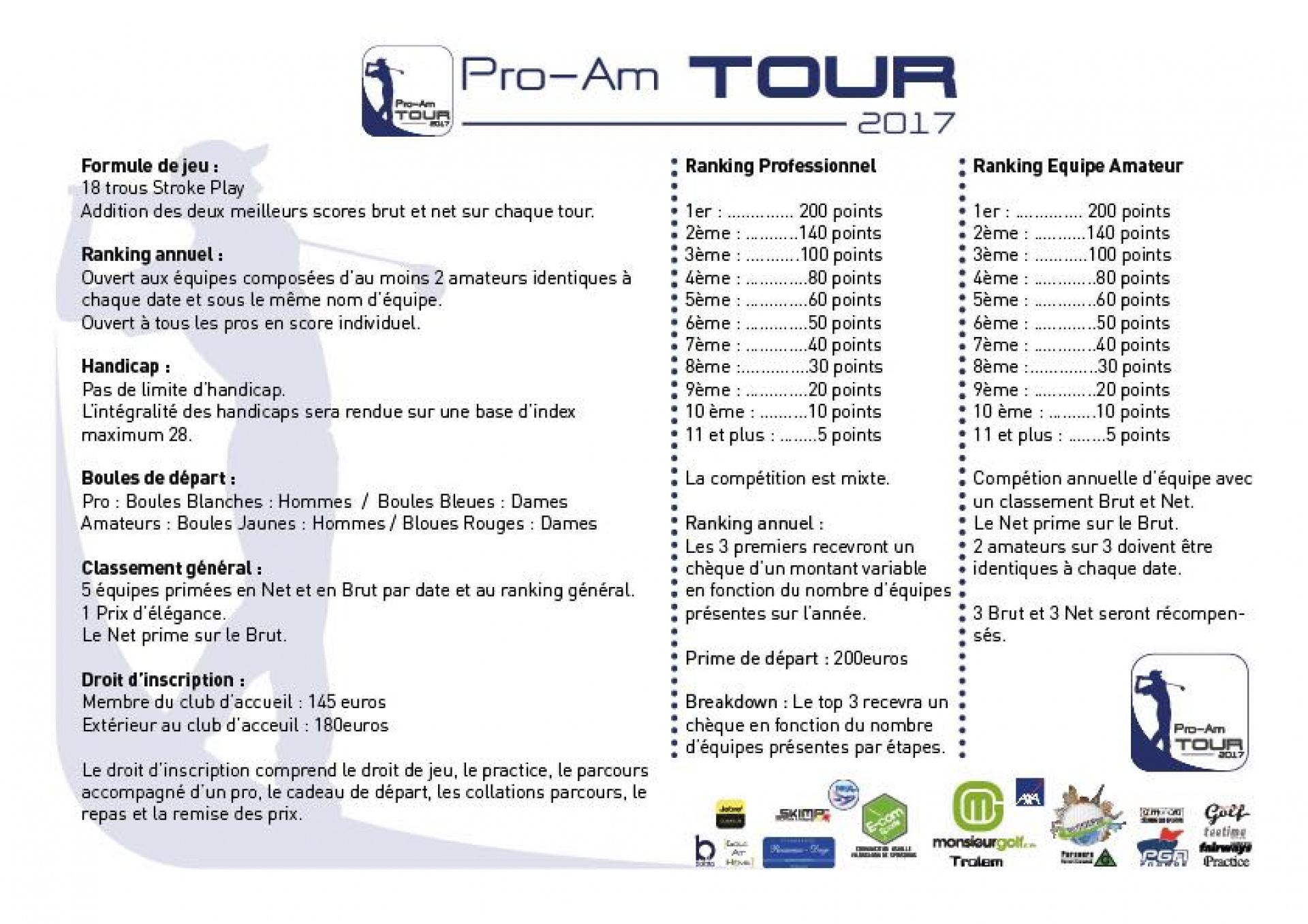 Réglement PROAM TOUR 2017